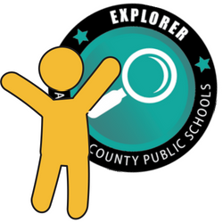 Yellow icon of a person standing next to an Explorer Micro-Credential Badge