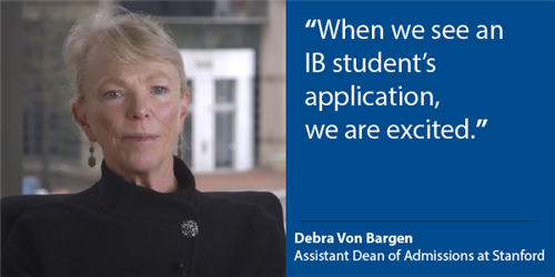 "Picture of Debra Von Bargen with a quote, ""When we see an I student's application, we are excited."""