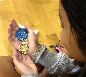 Girl with medal