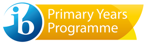 IB Primary Years Programme logo on a blue and yellow banner.