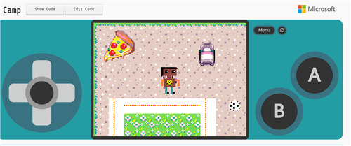 Acracade game picture of a pixel pizza ad student created game controller.