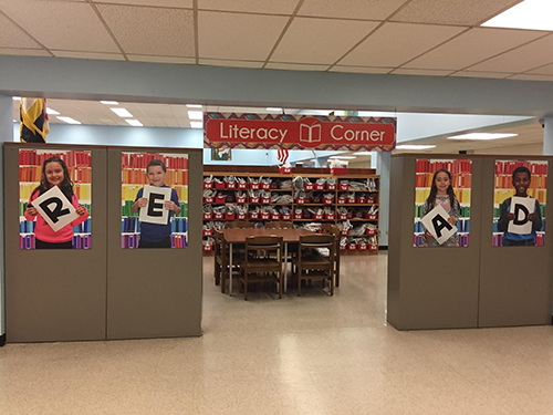 BPES library depicting Literacy Corner