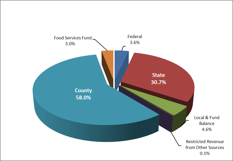 2019 Revenue County 58%, Food Service 3.0%, Federal 3.6%, State 30.7%, Local/Fund Balance 4.6%, Restricted/Other 0.1%