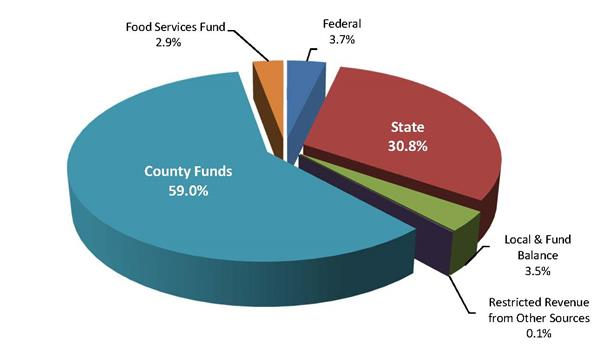 2018 Revenue County 59%, Food Service 2.9%, Federal 3.7%, State 30.8%, Local/Fund Balance 3.5%, Restricted/Other 0.1%