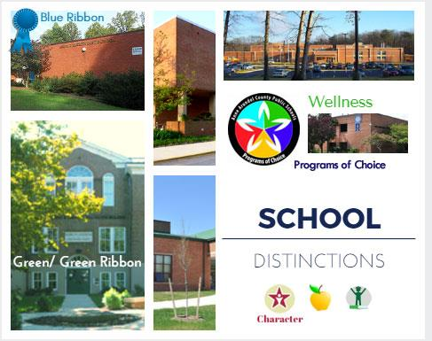 Blue Ribbon, Programs of Choice, Wellness, Character, Green Ribbon - School Distinctions