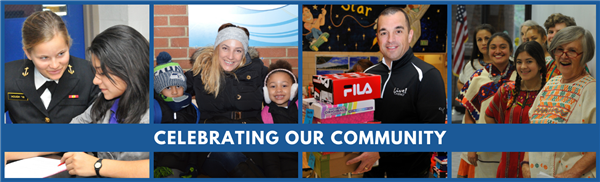 Celebrating Our Community--four photos of diverse community members sitting with students and volunteering