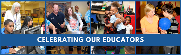 Celebrating Our Educators--four photos of teachers with students in AACPS classrooms.