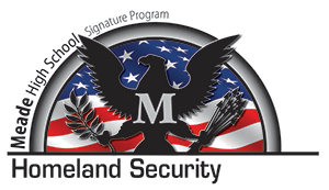 Meade High School Signature Program Homeland Security - Eagle crest with M across it over an American flag