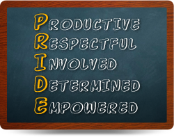 PRIDE Board: P-productive, R- Respective, I - involved, D- determined, E- empowered