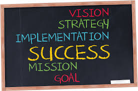 chalkboard displaying the words: vision, strategy, implementation, success, mission, goal in various rainbow colors