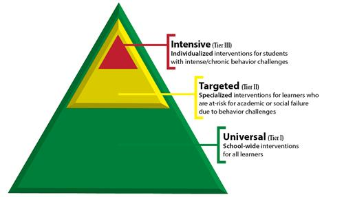 Green triangle denoting Universal, Targeted and Intensive interventions