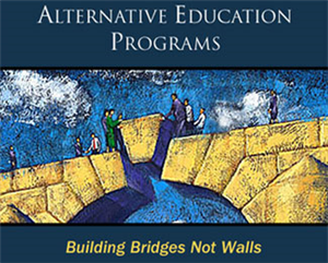 Alternative Education Programs - graphic of people Building Bridges not Walls