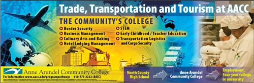 North County Signature and Anne Arundel Community College Trade, Transportation, Tourism with a plane, cargo, and chefs.