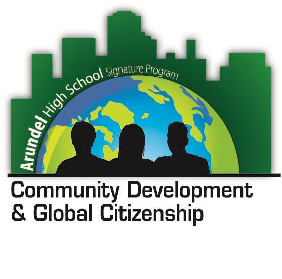 Arundel HS Signature Community Development & Global Citizenship-world with outline of three people in front of the world.