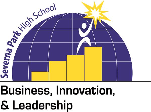 Severna Park Signature- Business, Innovation & Leadership.Half globe with bar graph and stick figure on top holding a star.