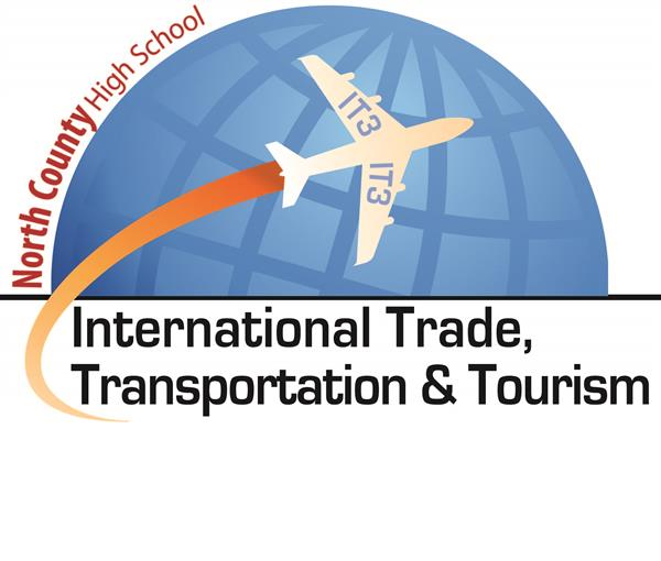 Globe with a plane flying across with North County- International Trade, Transportation & Tourism.
