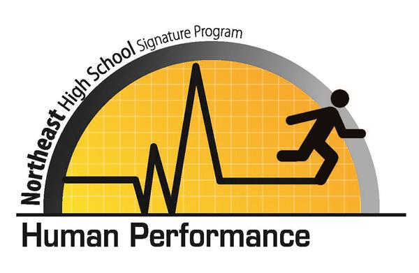 Northeast High Human Performance- half circle with grid marks and a stick figure person running.