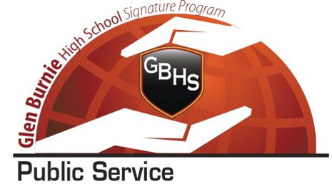 Glen Burnie Signature- Public Service- two hands surrounding GBHS shield.