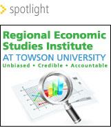 Regional Economic Studies Institute at Towson University- chart with a magnifying glass over part of it.
