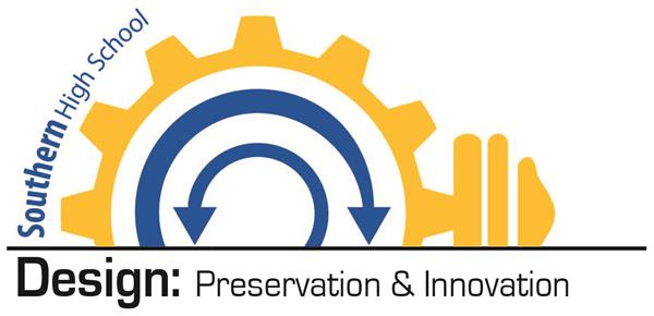 Southern High Signature- Design: Preservation & Innovation logo with gears and arrows.