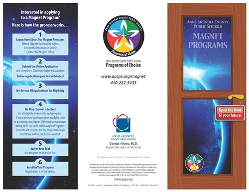 "Pamphlet describing Magnet Programs with door saying,""Open the door to your future!"".  Click here for the PDF.fo"