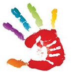 rainbow-colored adult hand print with smaller white handprint inside