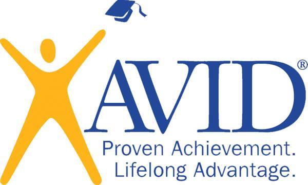 AVID Proven Achievement. Lifelong Advantage. Figure of a person throwing a graduation cap in the air.