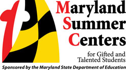 Maryland Summer Centers for Gifted and Talented Students logo with Maryland Flag