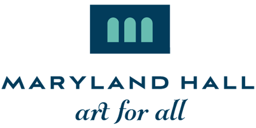 Maryland Hall art for all logo with a blue box with three arched blue windows