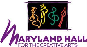 Maryland Hall for the Creative Arts logo with musical  notes and instruments