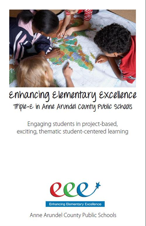 Enhancing Elementary Excellence- Triple E- with picture of children around a map