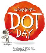 International Dot Day, September 15th-ish; a drawin gof a young girl who appears to be painting a large red dot behind text