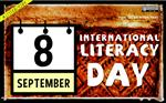 September 8, International Literacy Day; a calendar page overlayed on an image of Teotitlan del Calle, Oaxaca, Mexico