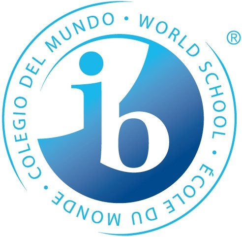 Circle with IB written in the center.  World School is written in English, Spanish and French.