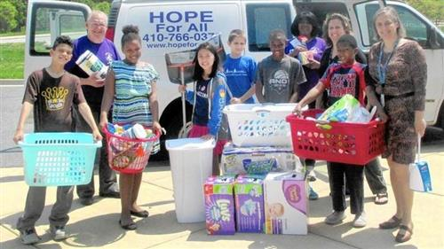 Exhibition project, Germantown 5th grade students collected and donated supplies to to support Hope for All.