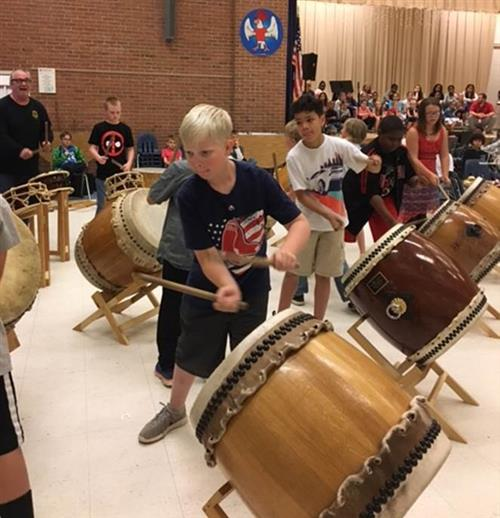 Manor View students participated in a Taiko drumming demonstration with an expert musician to increase cultural awareness.