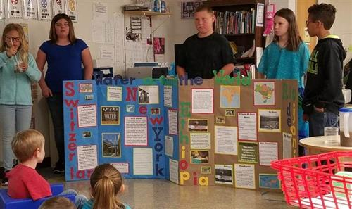 Exhibition project, 5th grade students at Sunset presented research and showed a clean water demonstration to kindergartners.