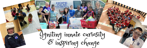 collage of images of IB students  and the words Ignite Innate curiosity and inspire change.