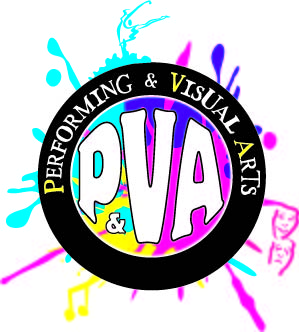 Performing and Visual Arts Magnet Logo with paint splatter, music notes and comedy and tragedy masks